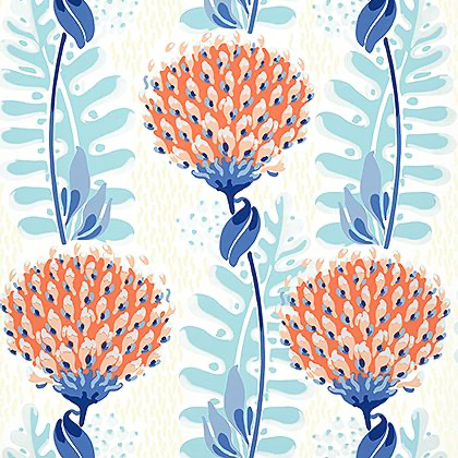 Thibaut Tiverton Wallpaper in Coral